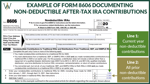 Pro Rata Rule_General_Blog_2021_9_1600x900_Example Form 8606 Documenting Non Deductible After Tax IRA Contributions