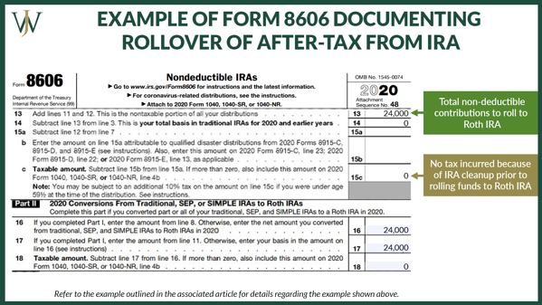 Pro Rata Rule_General_Blog_2021_9_1600x900_Example Form 8606 documenting Rollover of After Tax From IRA